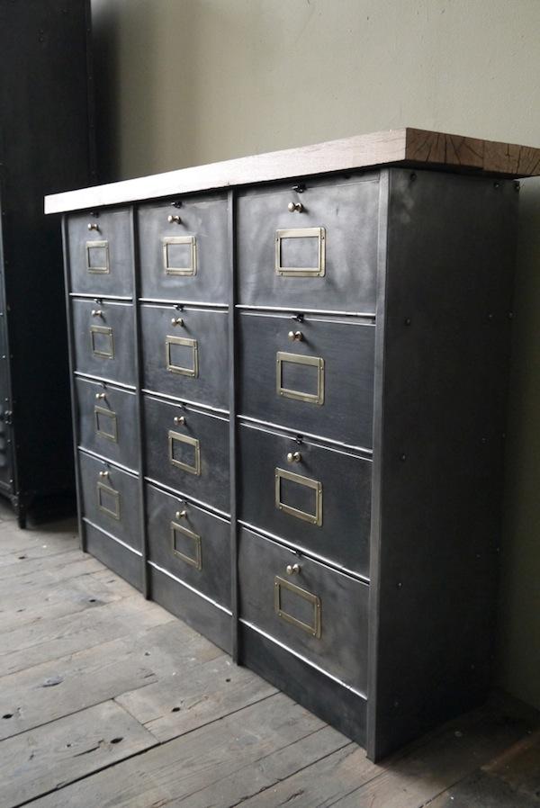 Roneo meuble clapets industriel01 la boutique vintage - Boutique meuble vintage paris ...