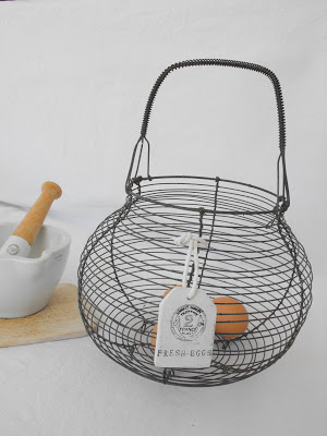 vintage decoration wire egg basket