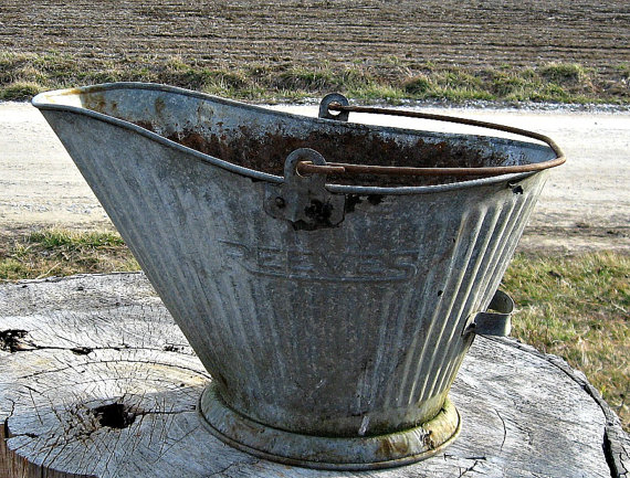vintage galvanized items steel bucket